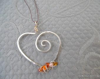 Stitchmarker Holder Pendant, heart