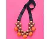 Wooden Statement Necklace / Palmwood & Orange Fabric Beads and Grosgrain Ribbons Ties / Wooden Comptemporary Necklace