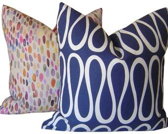 Indigo Pillows - Navy Pillow - Bodoni Pillow - Joanathan Adler Pillows - Cushions - Throw Pillows - Indigo Accent Pillows - Home Decor