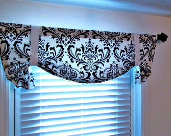 Black and White Tie Up Valance Top Window Treatment  Damask Curtain Handmade in the USA