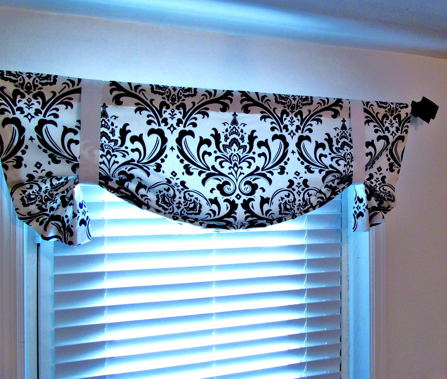 Black And White Tie Up Valance Top Window Treatment Damask