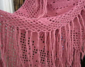 Gorgeous Large Dusty Rose Triangle Long Fringed Hand-Crocheted WOOL SHAWL, Vintage