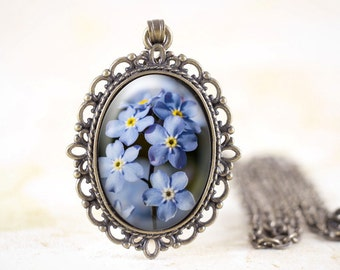 Forget-Me-Not Necklace - Bronze Flower Jewelry, Blue Flower Necklace, Blue Forget Me Not Jewelry, Blue Wildflower Necklace, Spring Flower