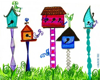 Birdhouses (8x10 Limited Edition Archival Art Print)
