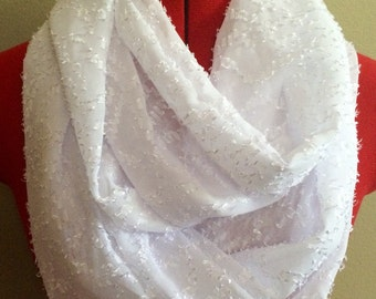 White Textured Extra Long Infinity Scarf