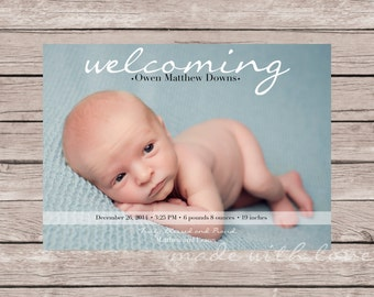 Photo Birth Announcement for Baby Boy or Girl, personalized and printable, 5x7