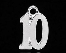 6 Number 10 Charms, Silver Plated Pendants, number TEN, chs1993