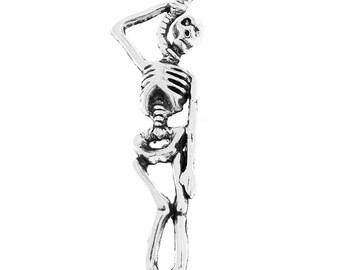 8 SKELETON with NOOSE Charms Pendants, Hanging Skeleton, Silver Tone Metal   chs2026