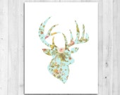 Instant Download Floral Stag