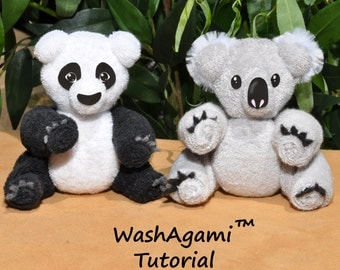 Baby Washcloth Koala, Washcloth Panda, WashAgami ™, Instructional Video and PDF