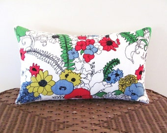 floral pillow cover, FERNS AND FLOWERS, 12 x 20, cottage chic cushion cover, porch throw pillow case, sun room pillow cover, Bates floral