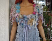 top romantic glam gypsy embroidered handmade knitted wearable art fairy tale  top in pale blue gift idea for her by goldenyarn