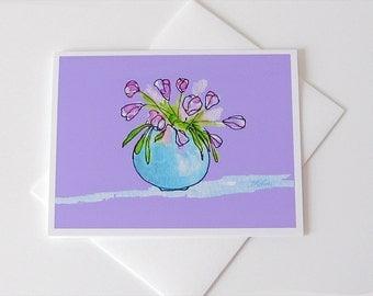 Bowl of Tulips Notecard // Tulip Print // Watercolor Card