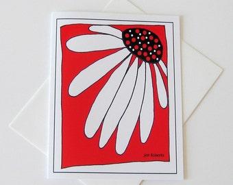 Flower Art Card // Printed Art Notecards // Echinacea Flower Line Drawing