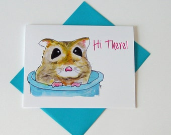 Hamster Notecard //  Watercolor Painting // Printed // Dwarf Hamster // Any Occasion