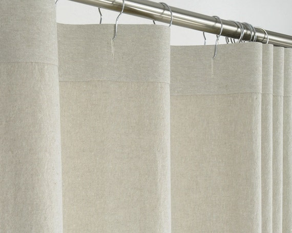 LINEN Shower Curtain Beige 72 Wide x 72 78 84 90 96 by
