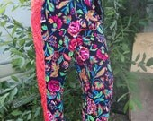 pink orange psychedelic neon rainbow flouro floral baggy trousers jersey joggers uk size 8 10 12