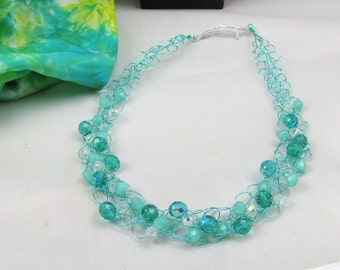 wire crochet necklace turquoise and teal statement necklace