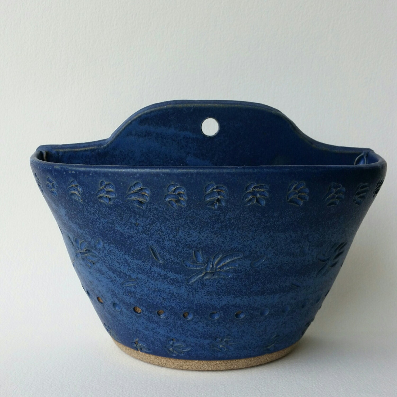 Hanging Stoneware Pottery Wall Planter Pocket Vase on