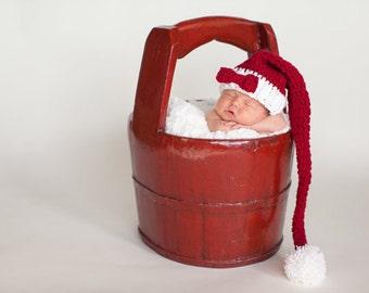 Newborn Christmas Hat, Holiday Hat, Newborn Santa Hat, Baby Pom Pom Hat, Newborn Photo Prop, Christmas Photo Prop, Baby Hat, Holiday Elf Hat