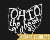 INSTANT DOWNLOAD - Ohio the heart of it all - 8x10 Illustrated Print by Mandy England