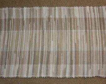 Handwoven Rag Rug - Khaki Taupe Tan, Flannel Twill, Corduroy - 45 inches....(#94)