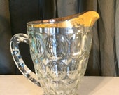 Gold Rimmed Clear Glass Pitcher, Ten Dollar Sale