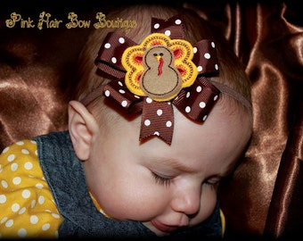 Baby's first Thanksgiving bow, Thanksgiving hair bow , Thanksgiving head band , Turkey  hair bow, Thanksgiving hair bow