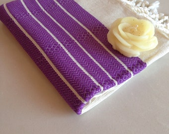 Christmas gift , Premium Turkish Towel, Peshtemal, Bath and Beauty, Bath and Body, Hammam for her, Bride gift, Natural Linen, spa,  purple
