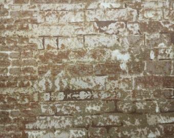 Brick in brown and beige, fat quarter, pure cotton fabric