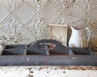 Vintage Wooden Tool Tote Carrier Farmhouse Primitive Garden Cottage Chic Decor