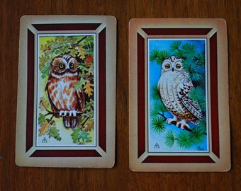 Vintage Card Caddy Set - Bridge Set - Owl playing cards - 1970's - Woodland