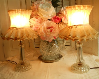 2 Vintage Glass Lamps With Pleated Shade and Pink Satin Ribbon French Pair Boudoir Lamps Working  Lamps Ca.1940s Home Decor Vintage Lighting