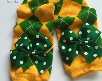 Green Bay Packers Leg Warmers -- Bow Leg Warmers for baby girls -- hunter green, gold, white leg warmers with polka dot bows