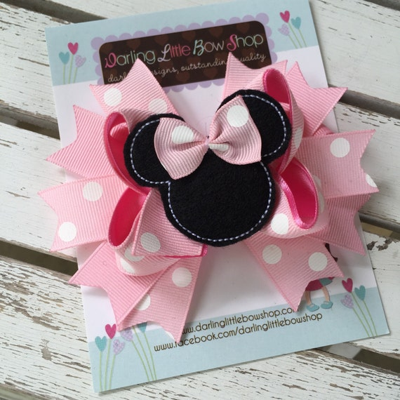 Miss Mouse Bow - Light Pink Miss Mouse Bow - Darling Little Bow Shop