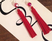 red suede leather Tassel earrings, handmade