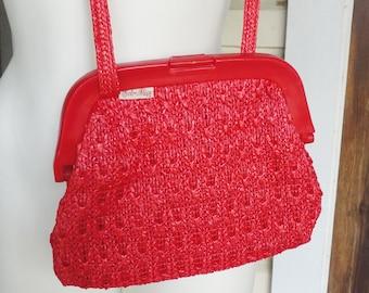 Bright Red 1960s Purse Cross Body Strap Plastic Clasp Woven Straw Mid Size Raffia Purse