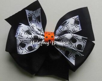 Halloween Hair Bow, Spider Hair Bow, 4 Inch Hair Bow, Girls Hair Bow, Solid Black
