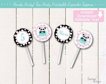 Panda Party/ Panda Tea Party Editable/ Printable (Instant Download) cupcake toppers