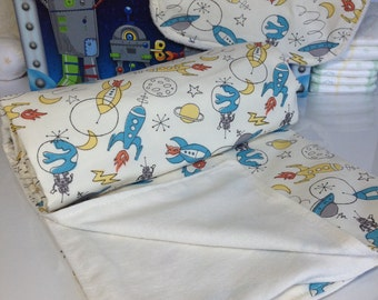 Organic Baby Blanket - Organic Baby Gifts - Outer Space Organic Receiving Blanket for Baby Boys or Girls