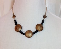 BOGO SALE Black and Gold Necklace and Black Crystal Necklace Two Necklaces for the Price of One, Handmade, One of a Kind Original Pieces
