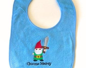 Gnomies embroidered baby bib
