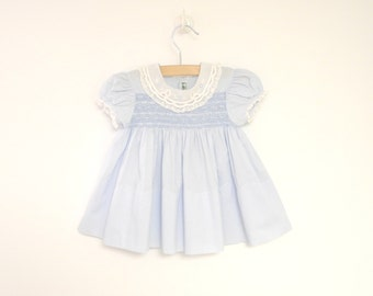Vintage Baby Clothes, 1940's Alfred Leon Soft Blue and White Lace Baby Girl Dress, Vintage Baby Dress, Blue Baby Dress, Size 0-3 Months