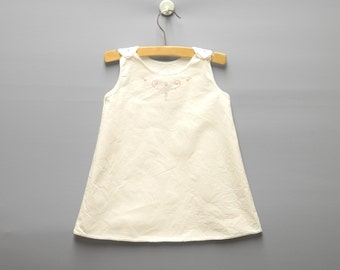 Vintage Baby Clothes, 1930's Handmade White Cotton Sleeveless Baby Girl Petticoat, White Baby Dress, Vintage Baby Dress, Size 12 Months