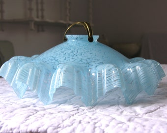 French Antique Glass Ceiling Light Blue Sky Marbled Glass 1930s Pendant Lamp Shade