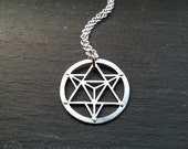 Star Tetrahedron Pendant - handcut sterling silver - Handcrafted Sacred Geometry Jewellery