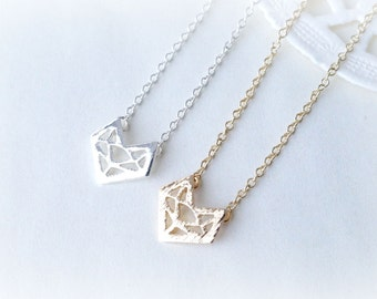 Silver or Gold Petite Origami Fox Necklace