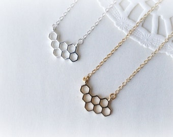 Silver or Gold Petite  Honeycomb Necklace