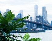 New York Photography, Brooklyn Bridge Art, New York City Art, Green Wall Art Prints, Manhattan Skyline Photo, Summer Night Romance