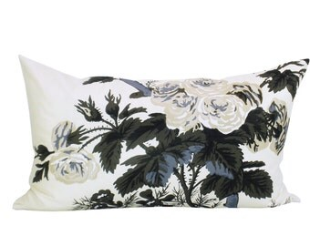 Pyne Hollyhock lumbar pillow cover in Charcoal